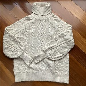Mango turtle neck cable sweater beige small